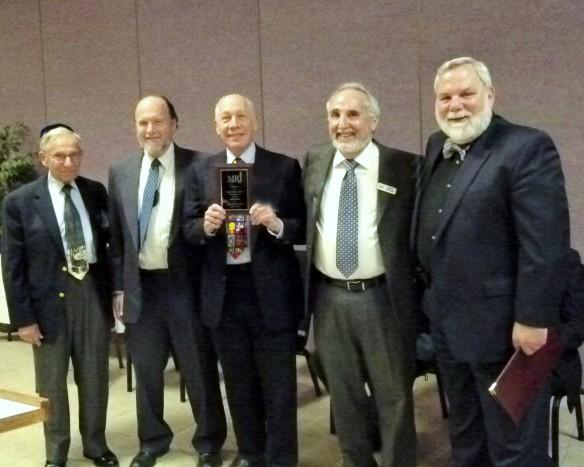 Charlie Niederman (Past President of MRJ-West), Scott Yollis (2014 MOY), Bob Levine (2015 MOY), Steve Zonis (2014 MOY), Mark Singer (Past President of MRJ-West)